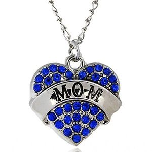 Jewelry - Dainty blue Crystal MOM Heart Pendant Necklace